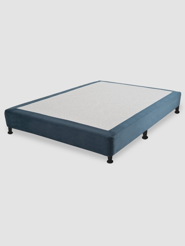 Cama Base Box Terciopelo Azul